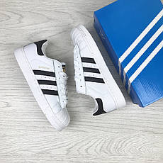 Подростковые кроссовки Adidas Superstar белые с черным, фото 3