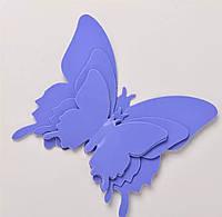 Виниловая наклейка бабочки 3D фиолетовые 12 шт