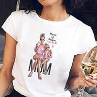 Белая женская футболка с принтом из натурального хлопка размер 42- 46