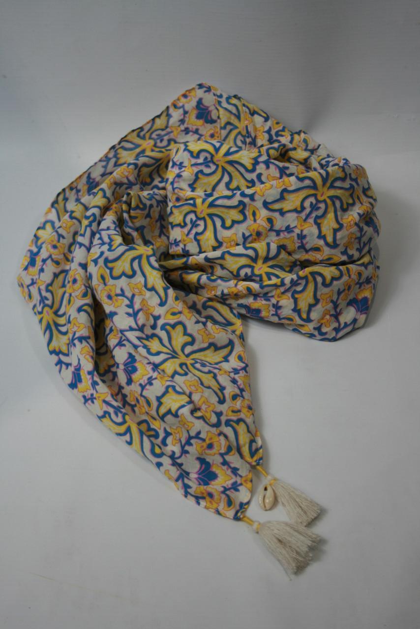 Платок женский Maison Scotch цвет бело-желто-голубой размер Универсальный арт 70809
