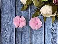 Шифоновый цветок с бусинами4,5 см, 20 шт/уп, нежно-розового цвета