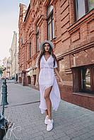 Стильное длинное платье в горошек Н 423