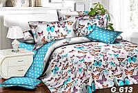 """Яркое двухспальное постельное белье """"бабочки""""."""
