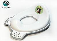Сиденье для унитаза детское с резинками (белое с серым)