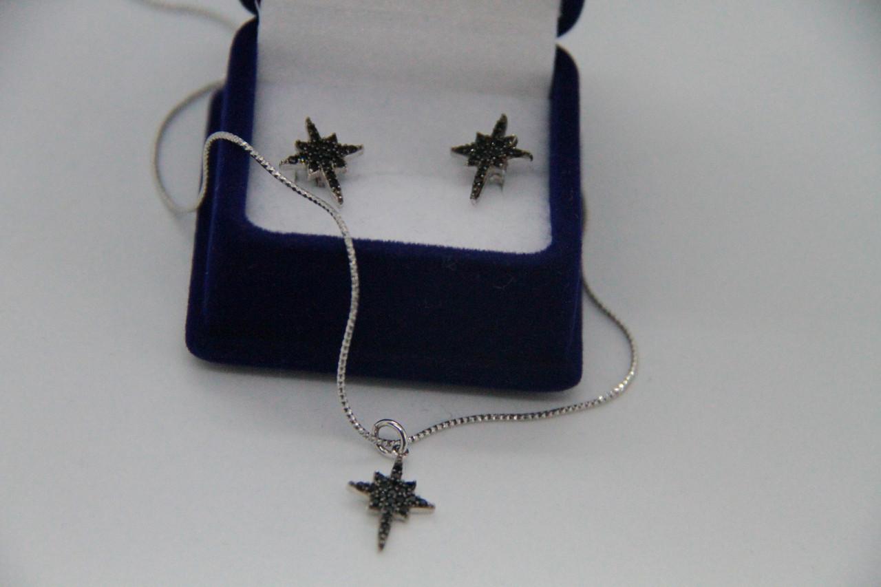 Набор украшений My Jewels из серебра черные камни Swarovski в стиле Apm Monaco