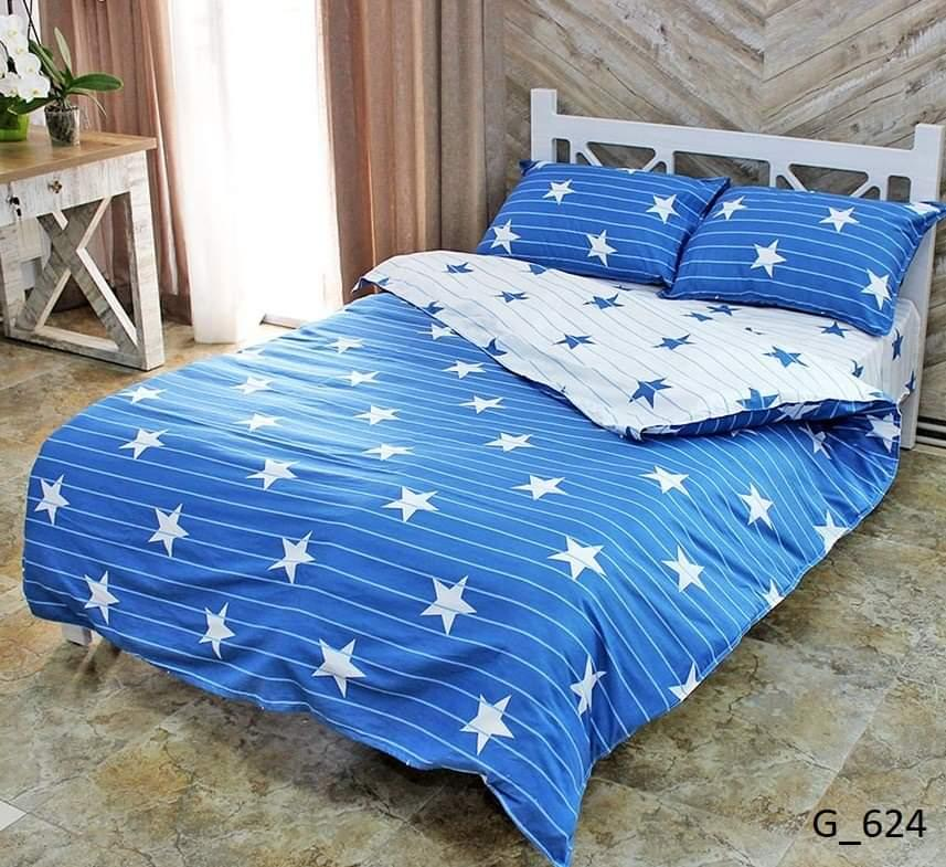 Качественное постельное белье двухспального размера с принтом звезды и полосы.