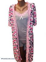 Женский комплект халат,майка и шорты