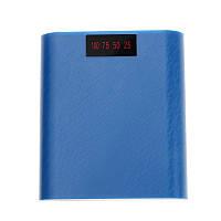 Корпус Power Bank с контроллером на 4 АКБ 18650 синий рифленый