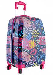 Детский чемодан дорожный на колесах «YES» Graffity
