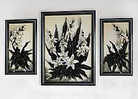 Триптих картин из кожи