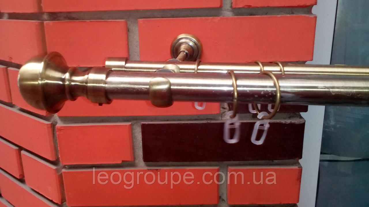 Карниз кованый двойной антик 25+16 Бостон -1,6м