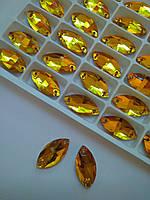 Стразы пришивные Маркиз 9х18 мм Topaz, стекло, фото 1