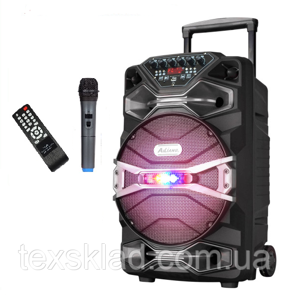 Акумуляторная колонка с микрофоном UF-1318AK 200W (FM/USB/Bluetooth)/видео обзор