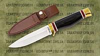 Нож нескладной 2069 AK (Рукоять: дерево, латунь. Чехол: кожа)