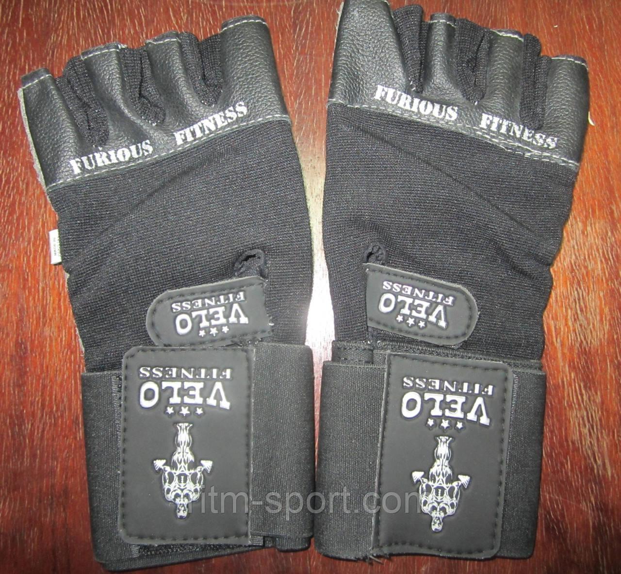 Перчатки тяжелоатлетические VELO VL-8114 с напульсником