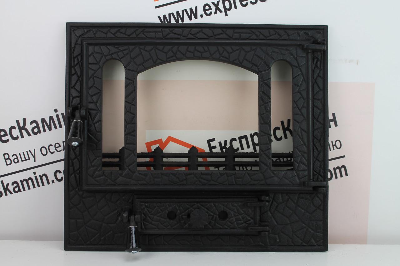 """Дверцы для камина печи со стеклом """"PANORAMA"""" 590x510mm"""