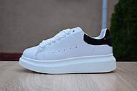Женские кроссовки Adidas х Alexander Mcqueen белые с черным топ реплика