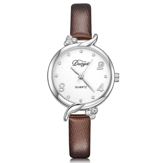 Женские наручные часы с коричневым ремешком