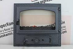 """Дверцы для камина печи со стеклом """"FIESTA"""" 580х520 Чугунные дверцы для  камина барбекю"""