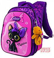 Школьный портфель с дышащей спинкой winner, рюкзак ортопедический для девочек с котиком, фото 1