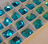 Стразы пришивные Космик (ломаный ромб) 13х17 мм Aquamarine (бирюза), стекло, фото 1