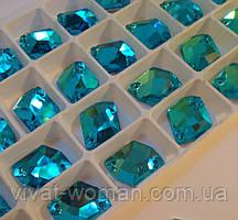 Стразы пришивные Космик (ломаный ромб) 13х17 мм Aquamarine (бирюза), стекло