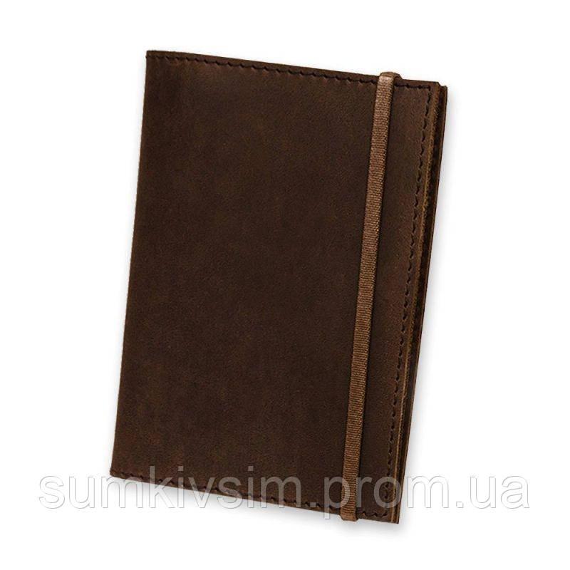 Обложка для паспорта 1.0 коричневая, Орех (кожа) + блокнотик