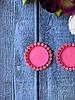 Пластикова Основа (кришечка) для серединки бантика (шпильки) в оправі з каменів, 20 шт/уп., рожевого кольору