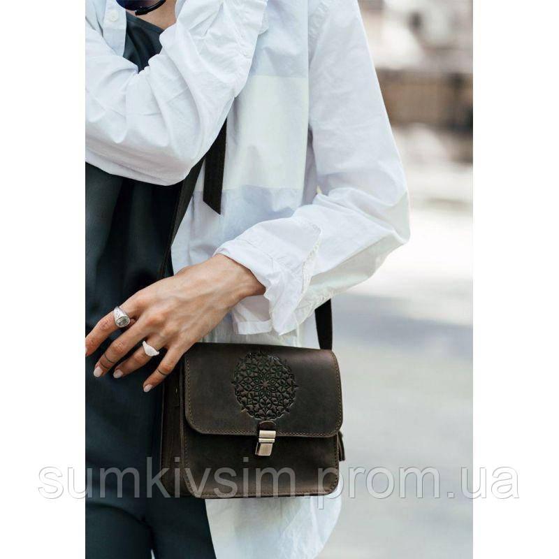Женская кожаная сумка Бохо-сумка Лилу орех - коричневая, фото 1