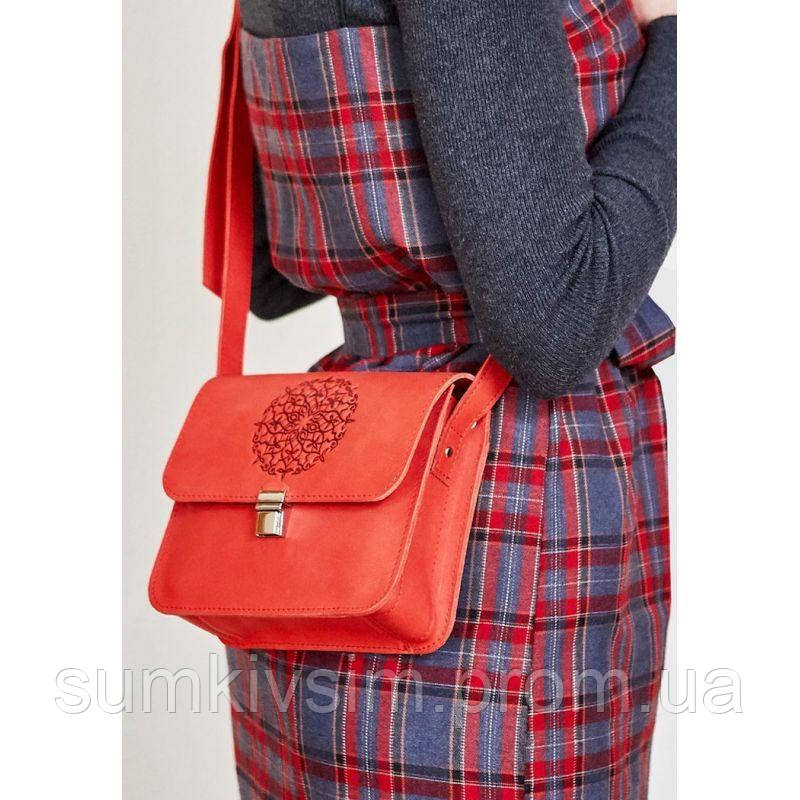 Женская кожаная сумка Бохо-сумка Лилу коралл - красная