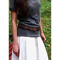 Женский кожаный ремень Орех - коричневый