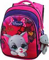 Школьный портфель с дышащей спинкой winner, рюкзак ортопедический для девочек с котенком
