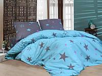 """Яркое двухспальное постельное белье """"Звезды"""" из ткани бязь голд."""