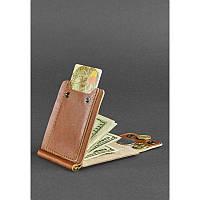 Зажим для денег из натуральной кожи Коньяк - коричневый, фото 1