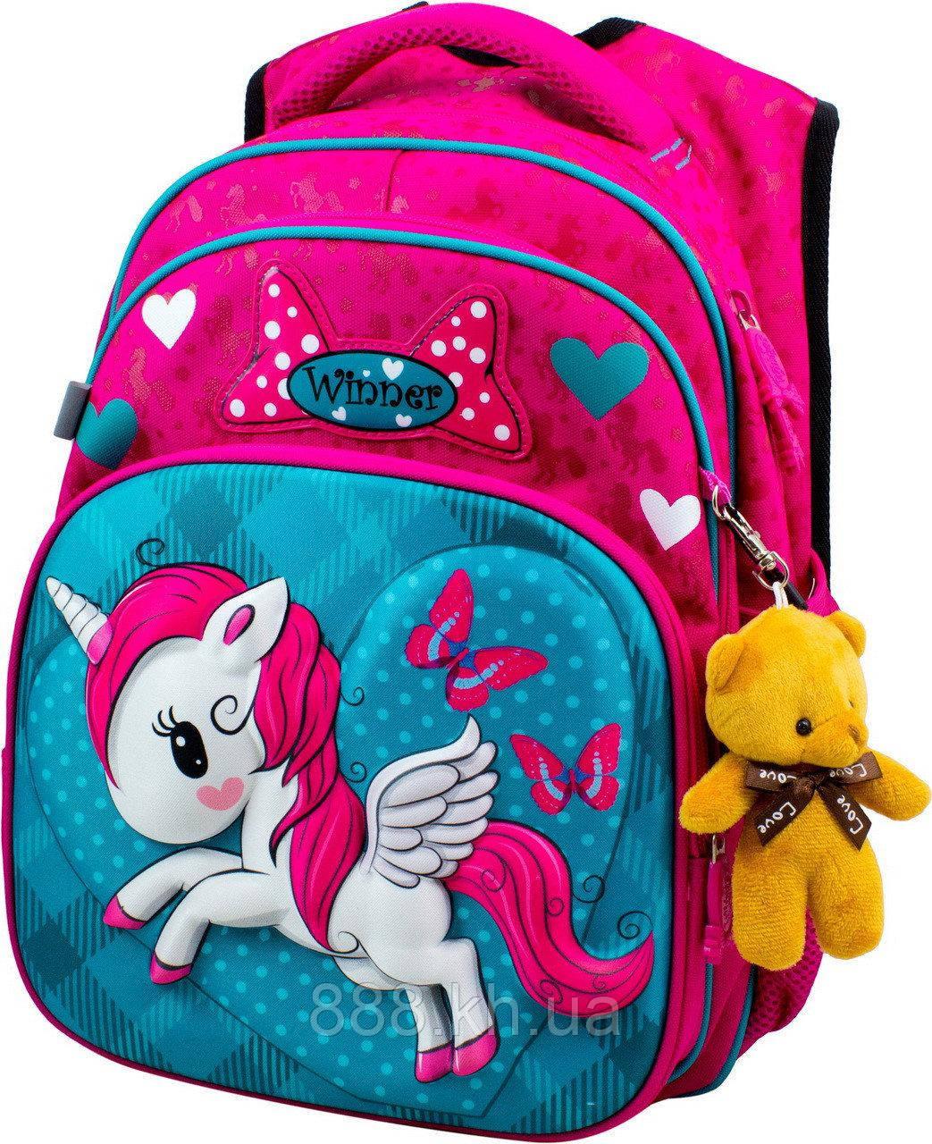 Школьный портфель единорог с дышащей спинкой winner, рюкзак ортопедический для девочек с объемным 3d рисунком