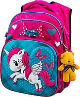 Школьный портфель единорог с дышащей спинкой winner, рюкзак ортопедический для девочек с объемным 3d рисунком, фото 1