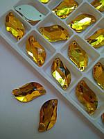 Стрази пришивні Листочки 10х20 мм Topaz (золото), скло