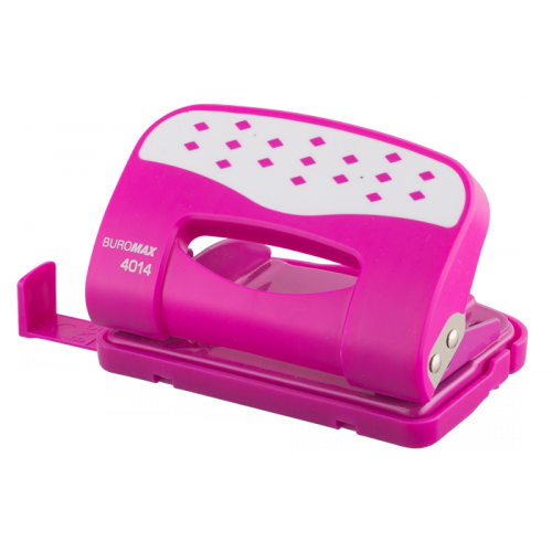 Дирокол металевий Buromax з пластиковою накладкою (до 12 л.), Рожевий