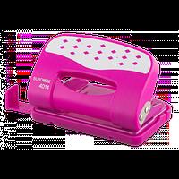 Дырокол металлический Buromax с пластиковой накладкой (до 12 л.), розовый