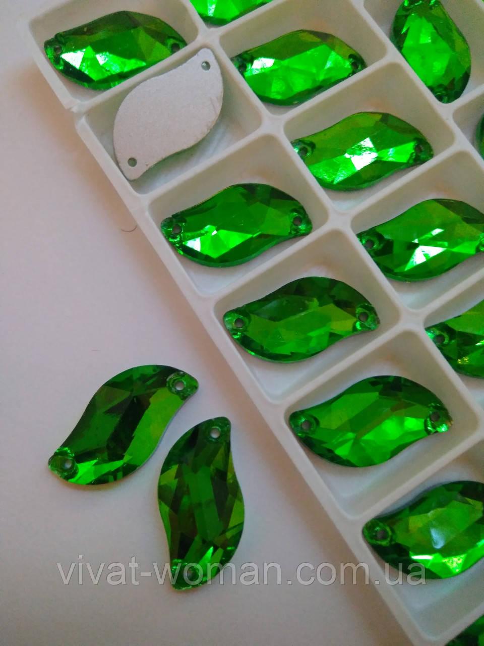 Стразы пришивные Листики 10х20 мм Grass Green (зеленый), стекло