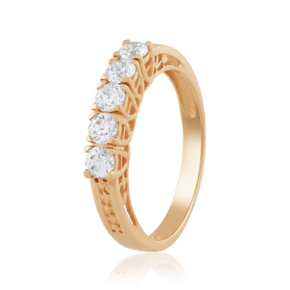 Кольцо с камнем SWAROVSKI Zirconia, красное золото, КД4212SW Eurogold