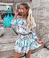 Летнее легкое платье с рюшами голубое с цветами CAVALIERI