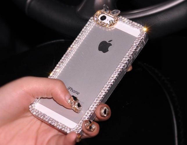 Чехол для iPhone 5 5S прозрачный с кристаллами