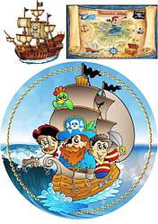 """Вафельная картинка для торта, десертов круглая """"Пираты"""", (лист А4)"""