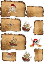 """Вафельная картинка для торта, десертов, пряников """"Пиратская"""", (лист А4)"""