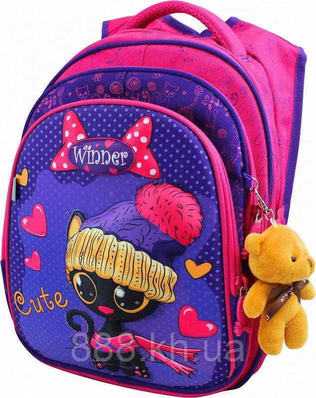 Школьный портфель с дышащей спинкой winner, рюкзак ортопедический для девочек с объемным рисунком