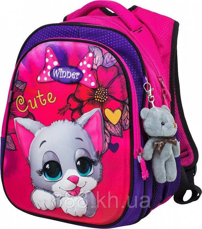 Школьный портфель с дышащей спинкой winner, рюкзак ортопедический для девочек с объемным рисунком котик