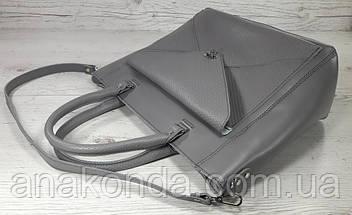 601-1 Натуральная кожа, Сумка-тоут трапеция женская, сумка серая Сумка кожаная серая сумка из натуральной кожи, фото 3