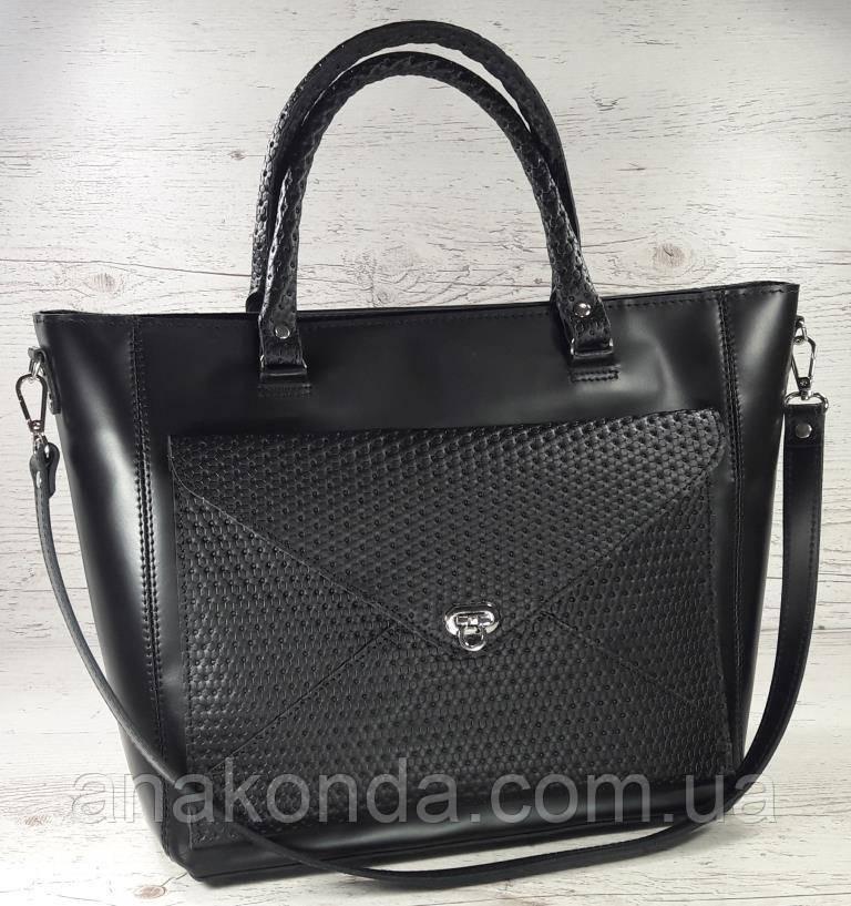 601 Натуральная кожа, женская сумка-тоут трапеция, сумка черная Сумка кожаная черная сумка из натуральной кожи