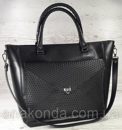 601 Натуральная кожа, женская сумка-тоут трапеция, сумка черная Сумка кожаная черная сумка из натуральной кожи, фото 2